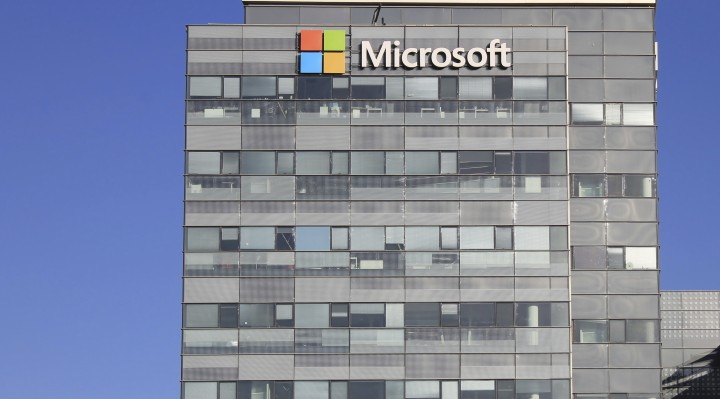 Microsoft corporation office building facade with logo in Herzli